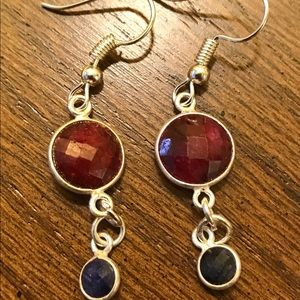 Jewelry - Handmade Ruby and sapphire earrings
